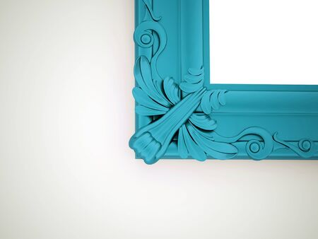 mirror and frame: Blue vintage mirror frame concept rendered