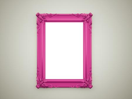 marcos cuadros: Concepto de espejo púrpura en la pared oscura Foto de archivo