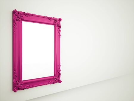 mirror and frame: Purple vintage mirror frame rendered on wall Stock Photo