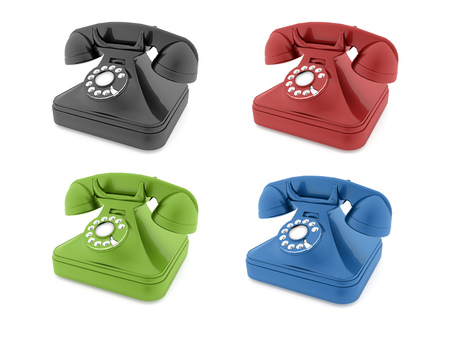telephones: Colored old telephones isolated rendered
