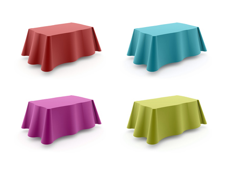 Four colored tables isolated on white background Zdjęcie Seryjne
