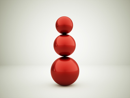 red sphere: Three red sphere concept rendered