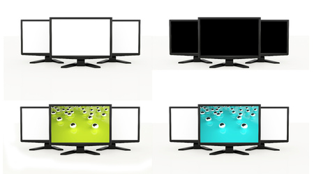 lcd tv: LCD TV screens rendered isolated on white background Stock Photo