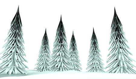 conifer: Conifer trees on winter country with snow Stock Photo