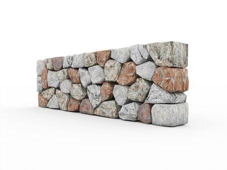 stonework: Stone wall on white background rendered
