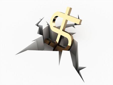 crashed: Dollar icon crashed on break surface