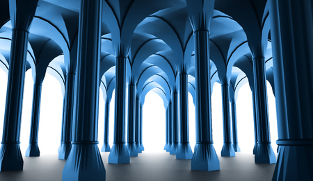historic: Black historic colonnade from columns rendered Stock Photo
