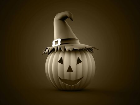 cucurbit: Halloween pumpkins rendered on black background Stock Photo
