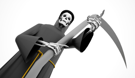 Grim Reaper rendered on white background Stock Photo