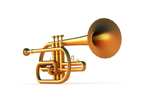 fanfare: Trumpet rendered on white background isolated Stock Photo