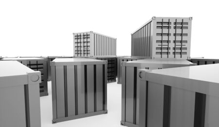 storage compartment: Containers concept rendered on white background Stock Photo