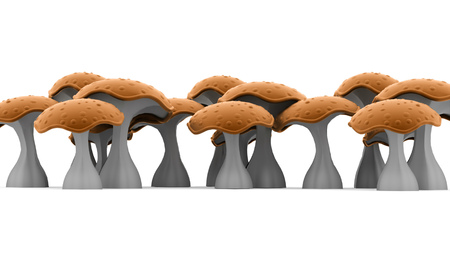 spore: Mushrooms rendered isolated on white background Stock Photo