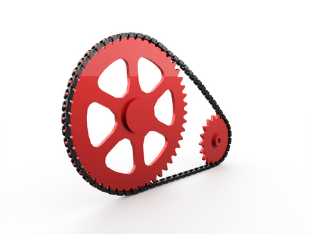 grease: Gears with chain concept rendered on white