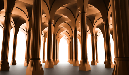 doric: Black historic colonnade from columns rendered Stock Photo