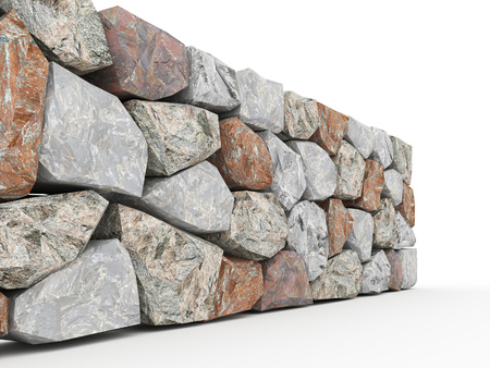 rock stone: Stone wall on white background rendered