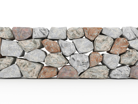 stone wall: Stone wall on white background rendered