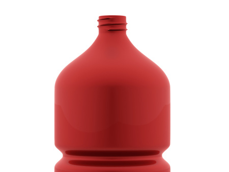 Red plastic bottle rendered on white background