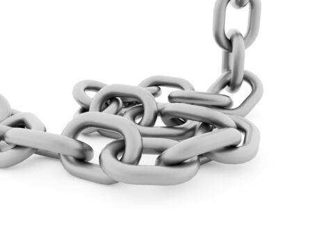 chained link fence: Silver chain concept rendered on white background Stock Photo