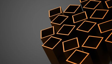 abstract cubes: Orange abstract cubes background rendered Stock Photo