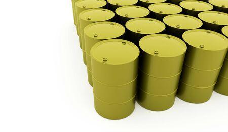 steel drum: Green petrol barrels on white background rendered