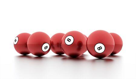 bola ocho: Red de ocho bolas sobre un fondo blanco liso
