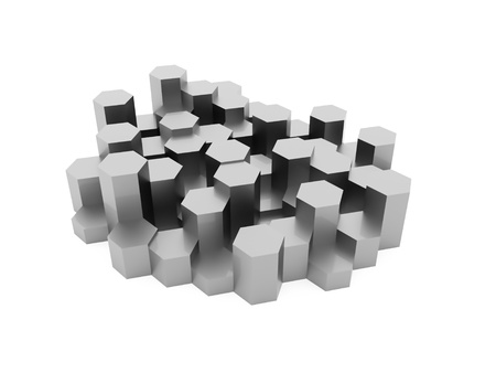 hexagonal: Silver abstract hexagonal business background rendered Stock Photo