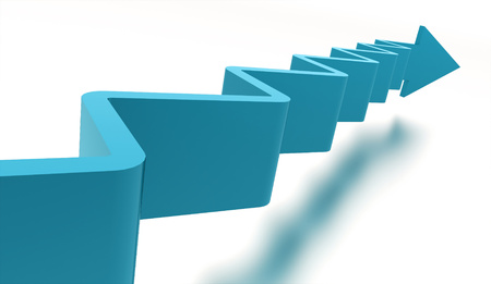 upstairs: Blue stair arrow business concept rendered Stock Photo