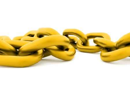 Gold chain concept rendered on white background Stock Photo