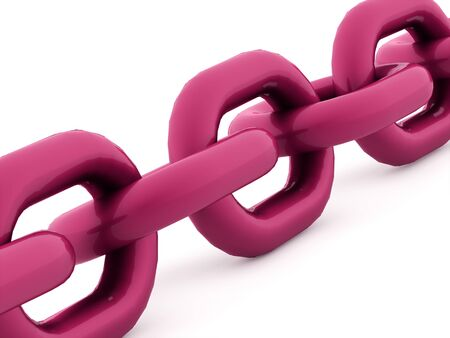 chained link fence: Pink chain concept rendered on white background