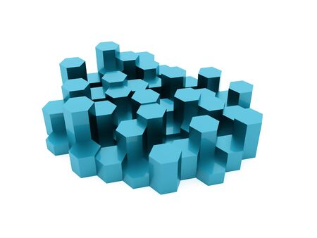 wall cell: Blue abstract hexagonal business background rendered