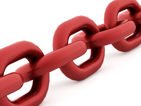 chained link fence: Red chain concept rendered on white background