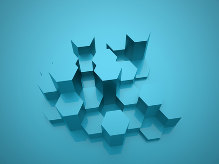 cell block: Blue hexagonal background texture rendered