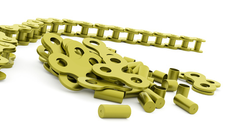 Green bicycle chain rendered on white background