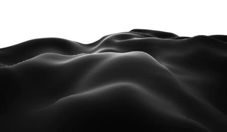 lifeless: Black and white lifeless landscape with huge mountains Stock Photo
