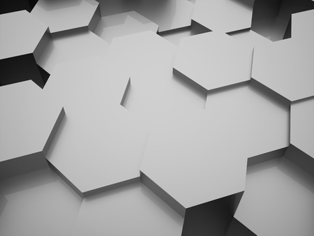 wall cell: Silver abstract hexagonal business background rendered Stock Photo