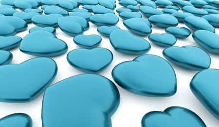 rendered: A blue hearts rendered on white background