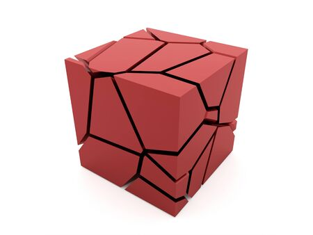 demolish: Cracked red cube rendered on white background