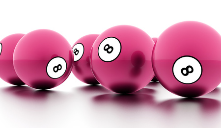 cue ball: Pink eight Ball on a plain white background Stock Photo
