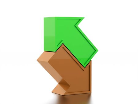 Colored simple business arrows icon rendered Stock Photo