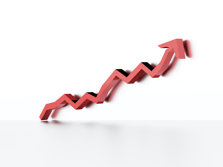 economic forecast: Red business graph chart arrow rendered on white background