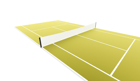 Green tennis court rendered isolated on white background Stock Photo