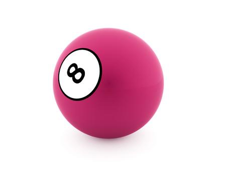 bola ocho: Pink de ocho bolas sobre un fondo blanco liso