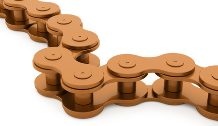 Orange bicycle chain rendered on white background Stock Photo