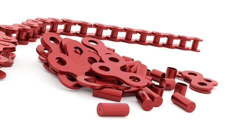 link work: Red bicycle chain rendered on white background Stock Photo