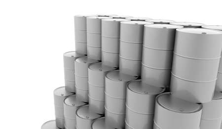 steel drum: Silver petrol barrels on white background rendered Stock Photo
