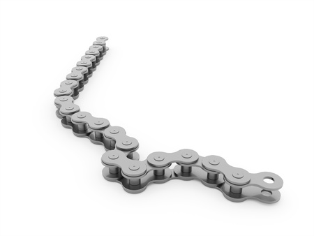 bicycle chain: Silver bicycle chain rendered on white background