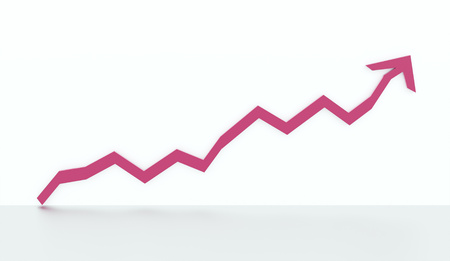 pink hills: Pink business graph chart arrow rendered on white background
