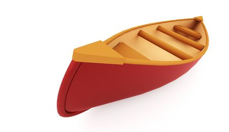Red canoe rendered on white background Stock Photo