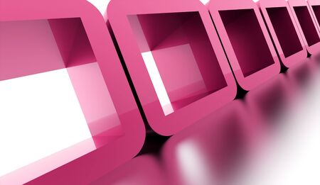 abstract cubes: Pink abstract geometric cubes concept rendered Stock Photo