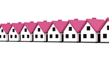 pink roof: A small houses business icon with pink roof on a white background